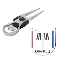 Golf Divot Green Pitch Repair Tool + Putting Alignment Ball Marker Hat Clip