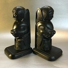 "2 - 7.5"" Boma Totem Pole Bookends Black Haida Northwest Native Pearlite 1 Damage"