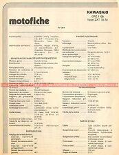 KAWASAKI GPZ 1100 Type ZXT 10 A - ZXT10A 1983 Fiche Technique Moto 000426