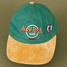 Hard Rock Cafe Banff Canada Trucker Strap Back Leather Suede Baseball Hat w pin