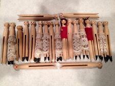 21 VINTAGE REPURPOSED ROUND HEAD WOOD CLOTHESPINS WITH FACES, HAIR & CLOTHING.
