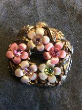 Vintage Jewellery Jewelcraft White & Pink Enamel & Pastel Rhinestone Brooch