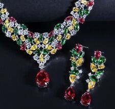 18k White Gold Necklace Earrings Set made w/ Swarovski Crystal Multicolor Stone
