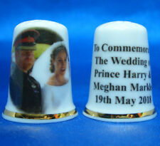 China Thimble - Prince Harry &Meghan Royal Wedding Bride and Groom - Free Box
