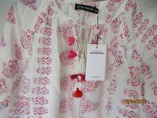 Antik Batik NWT Annah blouse, cream, pink, red. Pale blue size XS/36