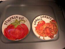 Set of 6 Salad Plates Turkey & Pumpkin Fall Thanksgiving Harvest Mint
