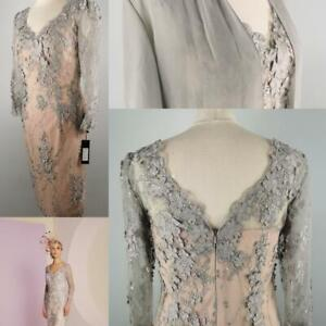 NEW Veni Infantino 10 12 Pink Grey Lace Fitted Dress & Coat Mother of The Bride