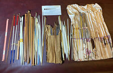 Vtg Antique Lot Sewing Knitting Crochet Needles Bone Metal Wood Old Tools