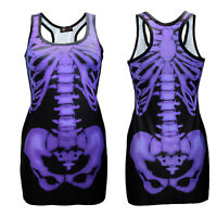 Black & Purple X-Ray Skeleton Ribcage Bones Long Tank Top Goth Punk Halloween