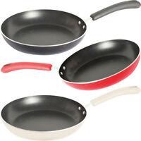3 SET 24CM FRYING PAN RED CREAM BLACK ALUMINIUM CERAMIC NON STICK COATED COOKING
