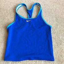 Nike Girls 12 Medium Swim Tank Tankini Top Blue White Racer Back Athletic Shirt