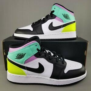 Nike Air Jordan 1 Mid Pastel GS Shoes Size 6Y Athletic Womens 7.5 Black White