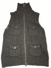 Eddie Bauer Small Vest Sweater womens Zip 4-Front Pockets Angora Blend Green Euc