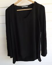 Katies Women's Black Top with 2 Different Fabrics - Size S