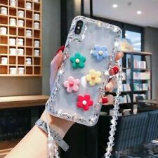 Cute Girl's Flower Bling Diamond Strap Case Cover for iphone XS MAX 7 8+ Samsung
