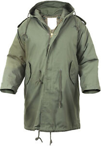 Military M-51 Fishtail Parka Hooded Army Field Winter Jacket Long Tail Trench