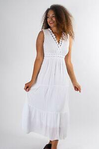 New Ladies Women Borderie Argalie White Maxi Dress One Size Fits Sizes 8 to 12
