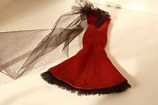 Cranberry & black net gown fits Model Muse & fashion Royalty Gown Only No Doll