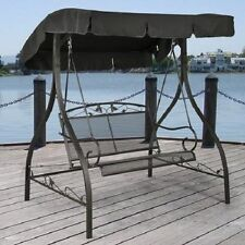 Outdoor Furniture Wrought Iron Patio Swing Canopy Porch Glider Bench Deck 2 Seat