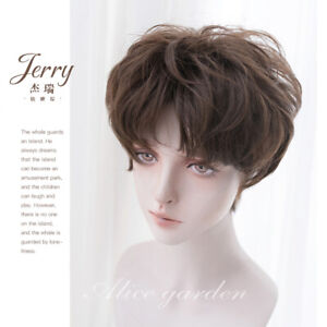 Japanese Gothic Harajuku Men's Gay Short Hair Cosplay Daily Wig Hairpiece Brown