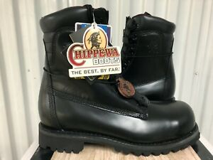 "Chippewa Brigand Work Boots 8"" Leather Steel Toe Zipper 12W 92400 Trooper Police"