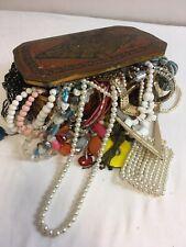 Vintage Tin box Of Joblot Jewellery Necklaces  Resale Craft Harvesting bundle
