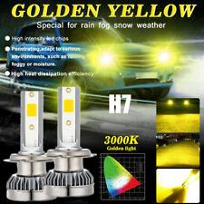 H7 Car Driving LED Headlight Kits 2400W 240000LM Fog Lights Bulbs 3000K Yellow