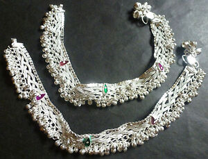 Indian Silver Plated Designer Heavy Ethnic Traditional Anklets Wedding  CZ Set ,