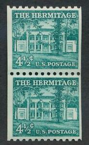 UNITED STATES 1059 MINT NH, F-VF, 4 1/2c HERMITAGE COIL LINE PAIR