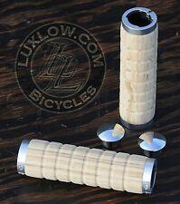 Wood Grain LockOn Cruiser GRIPS MTB BMX Bike Vintage Schwinn Bicycle Fixie Cork