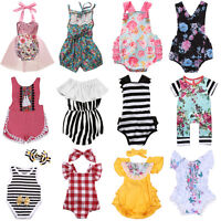 Floral Newborn Baby Boys Girls Romper Bodysuit Jumpsuit Outfits Sunsuit Clothes