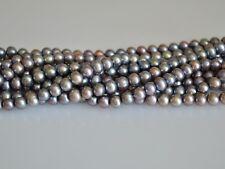 6-6.5 mm Potato Shape Light Peacock & Brass Color Freshwater Pearl Beads #866