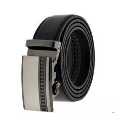 Men's Black Genuine Bonded Leather Ratchet Belt Formal Dress Work Belt S M L XL