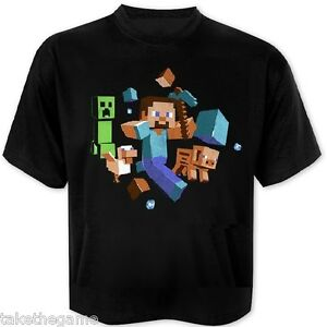 Official Licensed MINECRAFT RUN AWAY GLOW IN THE DARK KIDS T-SHIRTS - BNIP