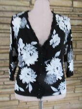 White House Black Market Sz L Floral Cardigan Sweater Floral 3/4 Sleeves SWEET