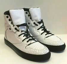 Brand NIB Auth Balenciaga Craquele Hightop Sneakers white Cracked Leather Sz41/8
