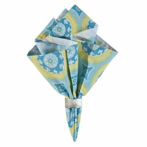 "Delilah 100% Cotton Geometric Reversible Napkin 17"" - Blue & Yellow"