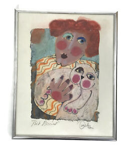 1990s Kathy Donahey Pink Percival Original Mixed Media Cat Painting Signed Art