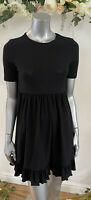 Wednesday's Girl Smock Dress Size 8 &18 Black Jersey Ruffle Hem New GE84