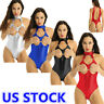 Sexy Women Shiny Patent Leather High Cut Thong Teddy Lingerie Leotard Bodysuit