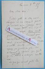 L.A.S 1879 COURRIERE proche de Gambetta - Somme d'argent Lettre autographe LAS