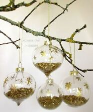 Christmas glass baubles set of 4, gold stars & glitter, etched & hand-painted