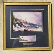 """Thomas Kinkade Clearing Storms 14"""" Framed Accent Print Lighthouse w/ Bible Verse"""