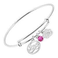 Chrysalis Expandable Multi-Charm Bangle Bracelet with Swarovski Zirconia, Silver