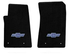 NEW! BLACK FLOOR MATS 1960-1966 Chevy Pickup Truck C10 K10 Blue Embroidered Logo