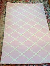 Pottery Barn ADDISON Girl Pink White 3D Diamond Raised WOOL Rug Carpet 3x5 NWT
