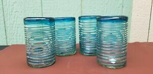 HAND BLOWN GLASS TUMBLERS  AQUA SPIRAL  SET OF 4  ***Shipping Discounts****