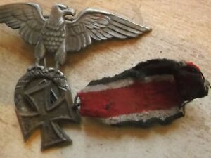 WW2 MILITARY GERMAN ALUMINIUM BADGE AND  STEEL MEDAL, BADGE VGVC MEDAL TATTY