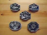 Pewter Belt Buckle US Army US Navy US Air Force Masonic Mason