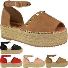Womens Ladies Flatforms Sandals Studded Embellished Summer Platforms Shoes Size